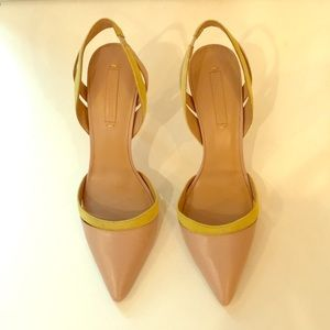 BCBGMaxAzria leather and suede sling back pumps
